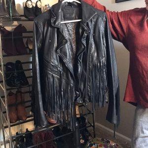 Fringe heavy leather jacket